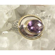 Amethyst Sideways Oval Cushion Cut with Gold Plated Border Ring