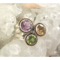 Amethyst with Peridot & Citrine Mardi Gras Ring