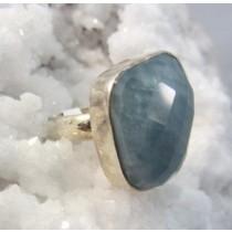 Aquamarine Faceted Ring