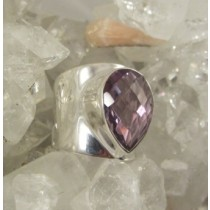 Amethyst Cushion Cut Teardrop Band