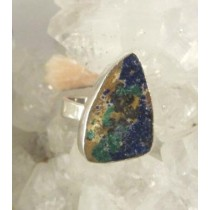 Azurite with Malachite Droozy Ring