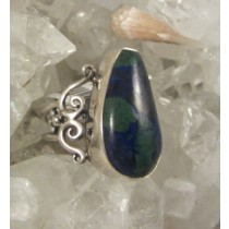 Azurite with Malachite Freeform Cabachon Ring