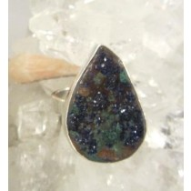 Azurite with Malachite Cluster Teardrop Ring
