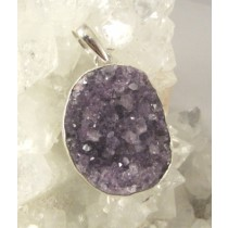Amethyst Natural Cluster Oval Pendant