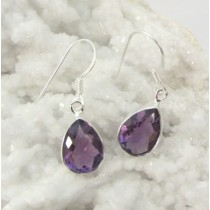 Amethyst Faceted Teardrop Medium Earring