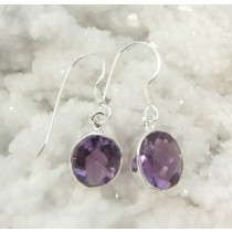Amethyst Oval Faceted Small Earring