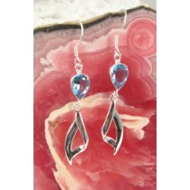 Blue Topaz Teardrop with Abstract Design Earring