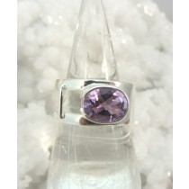 Amethyst Sideways Oval Faceted Band