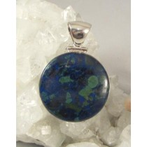Azurite with Malachite Round Cabachon Slide
