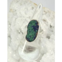 Azurite with Malachite Raw Oval Bezel Set Ring