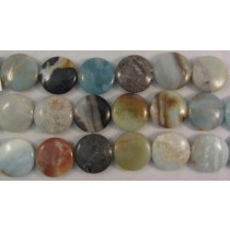 Black Gold Amazonite Flat Round Beads