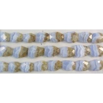 Blue Lace Agate Faceted  with Matrix Beads