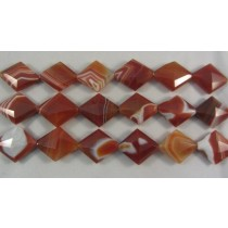Carnelian Agate Faceted Diamond Shaped Beads