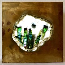 Green Tourmaline in Quartz Slice Lighted Metal Art