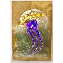 Jellyfish Gemstone Lighted Metal Art