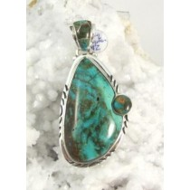 Kingman Turquoise with Inlay Bale Pendant
