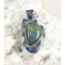 Labradorite with Lapis Inlay Pendant