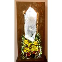 Clear Quartz Point & Tourmaline Lighted Metal Art