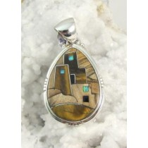 Tiger Eye with Picture Jasper Mesa Verde Pendant