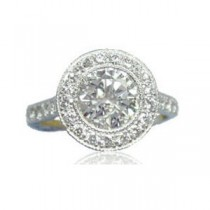 AFS-0073 Vintage Diamond Engagement Ring with Halo