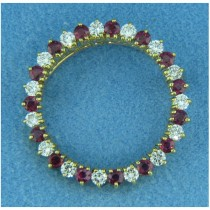 B1647 Diamond and Ruby Pin