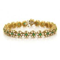 BR878 Diamond and Emerald Bracelet