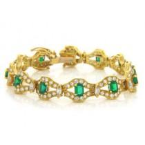 BR883 Diamond and Emerald Bracelet