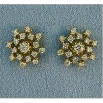E1094 Diamond Button Earrings