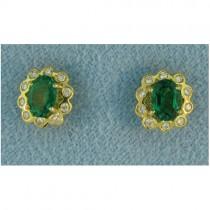E1132 Diamond and Emerald Earrings