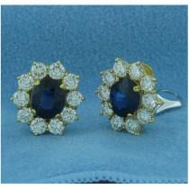E1208 Diamond and Sapphire Earrings