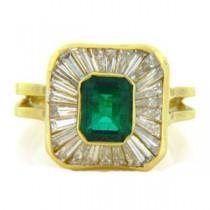 FS3324 Diamond and Emerald Ring