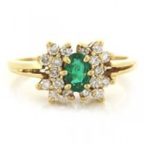 FS3519 Diamond and Emerald Ring