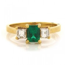 FS3554 Diamond and Emerald Ring