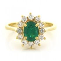 FS3583 Diamond and Emerald Ring