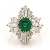 FS3586 Diamond and Emerald Ring