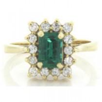 FS3592 Diamond and Emerald Ring