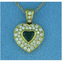 P1403 Diamond and Emerald Pendant