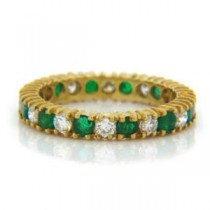 WB2585 Diamond and Emerald Wedding Ring