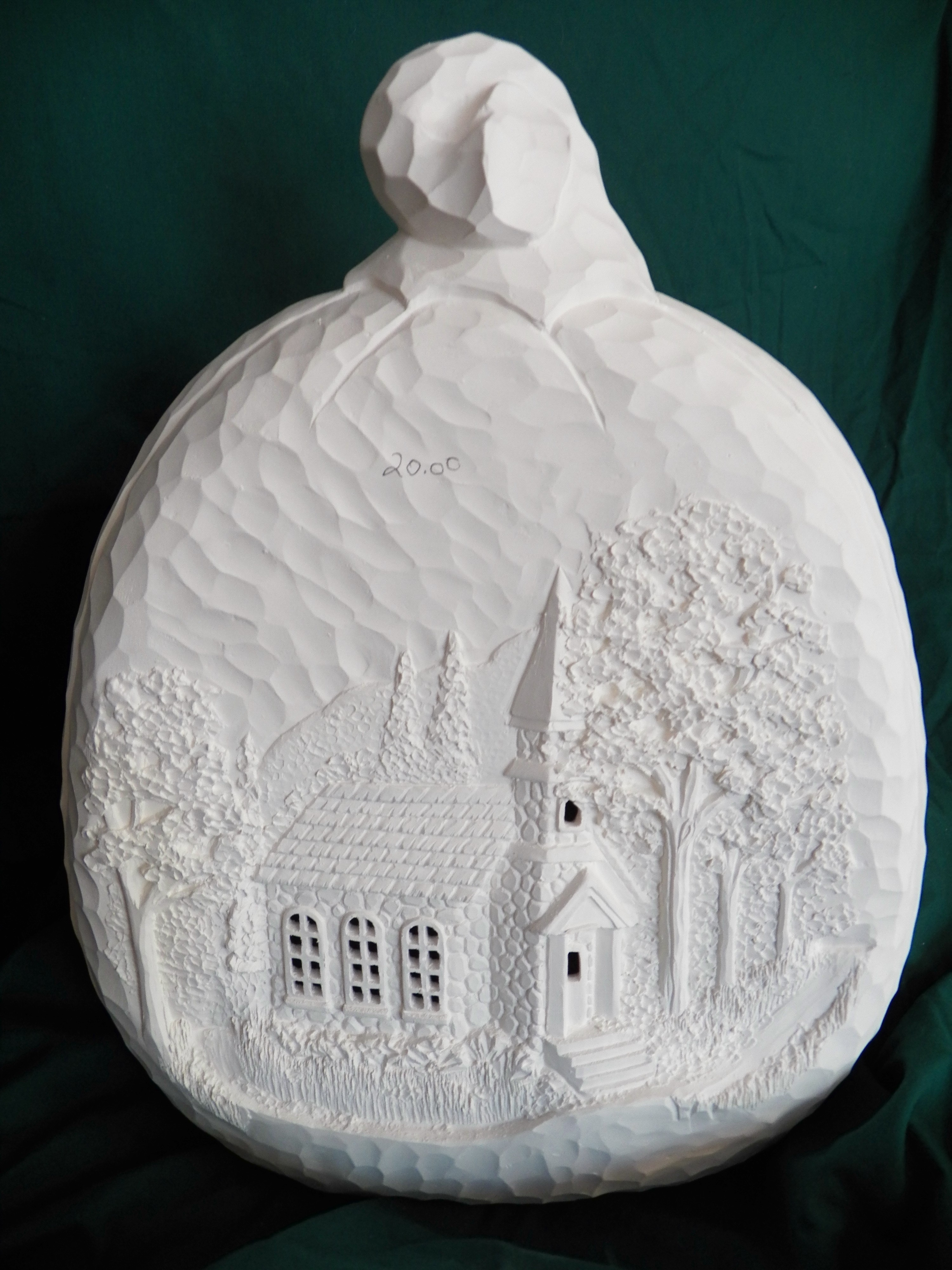 large pumpkin with windows cut out scenes bisque g z