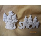 2 ornaments featuring snowmen