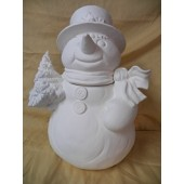 snowman with tree cookie jar