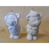 2 bear kids ornaments in set 5