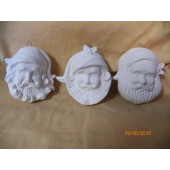 3 Santa head ornaments