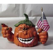 pumpkin with flag