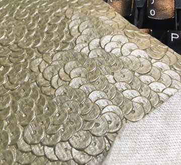 Taupe Sequins Expanded Supported PVC