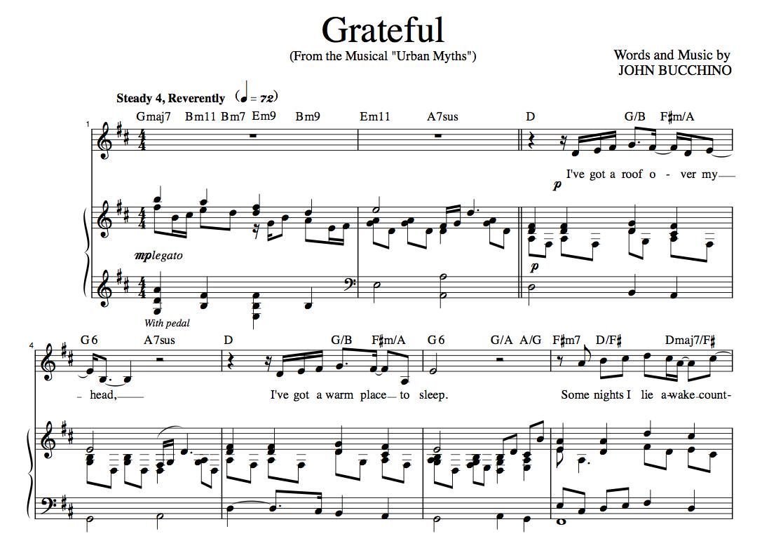 """""""Grateful"""" [An anthem of giving thanks] in D – Baritone or Soprano"""
