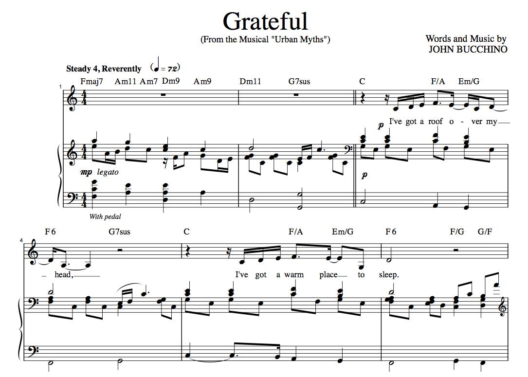 """Grateful"" [An anthem of giving thanks] in C – Baritone or Soprano"