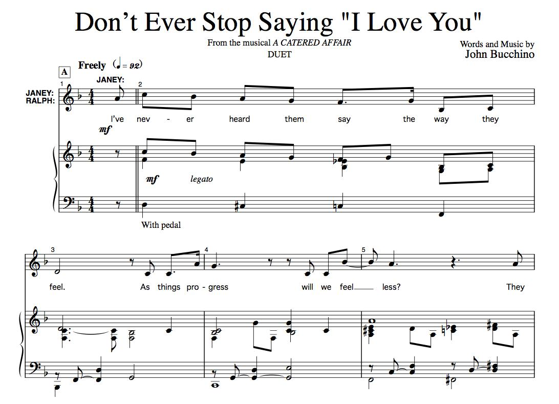 """""""Don't Ever Stop Saying 'I Love You'"""" [Love ballad] (Duet for Soprano & Tenor) in F to A"""