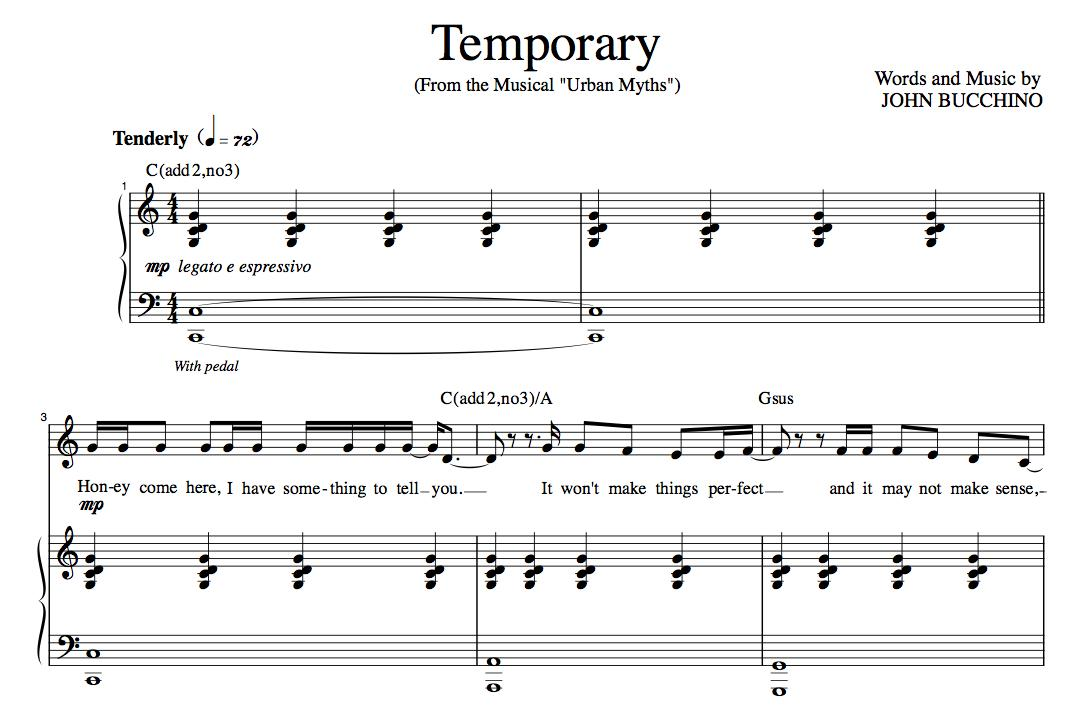 """Temporary"" [Poignant parent-to-child ballad] in C – High Baritone or Low Tenor"