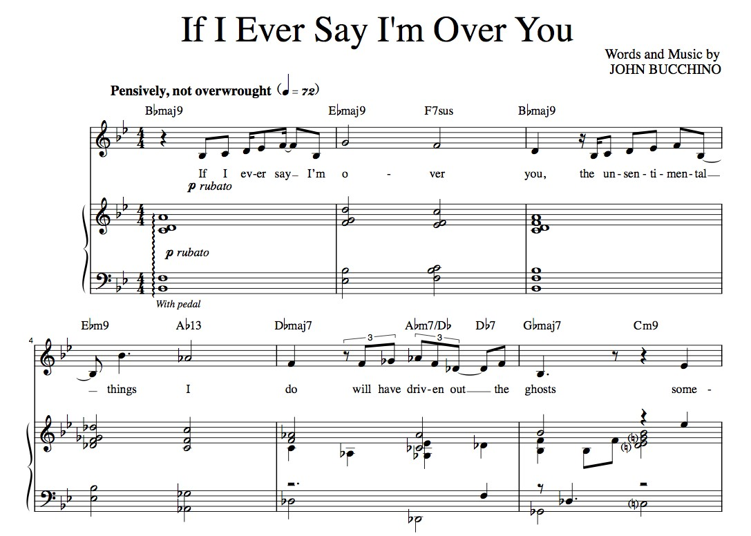 """If I Ever Say I'm Over You"" [Wistful love ballad] in Bb – Bass or Alto"